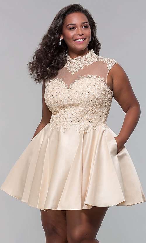 Image of high-neck lace-applique plus-size homecoming dress. Style: DQ-3069P Detail Image 5