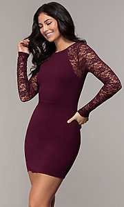 Image of short tight sheath party dress with long sleeves. Style: EM-FQY-3405-521 Front Image