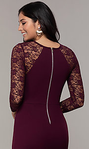 Image of short tight sheath party dress with long sleeves. Style: EM-FQY-3405-521 Detail Image 2