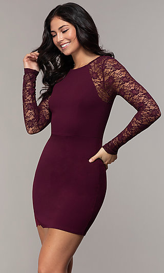 Short Long Sleeve Sheath Party Dress