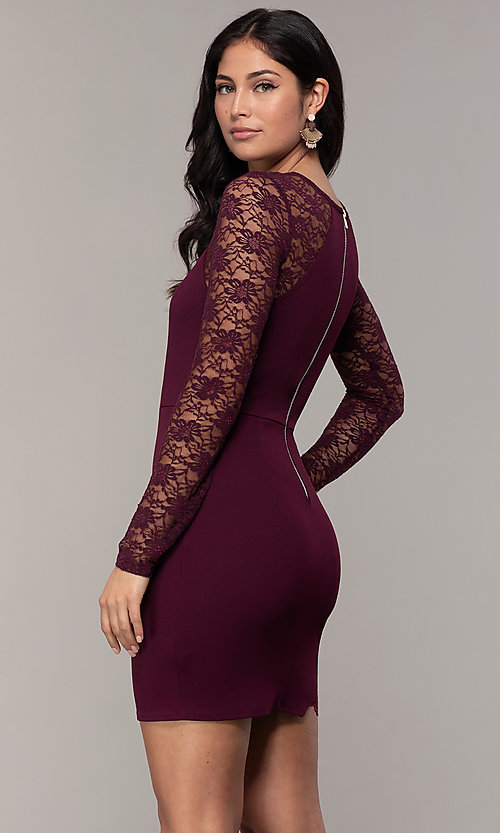Image of short tight sheath party dress with long sleeves. Style: EM-FQY-3405-521 Back Image