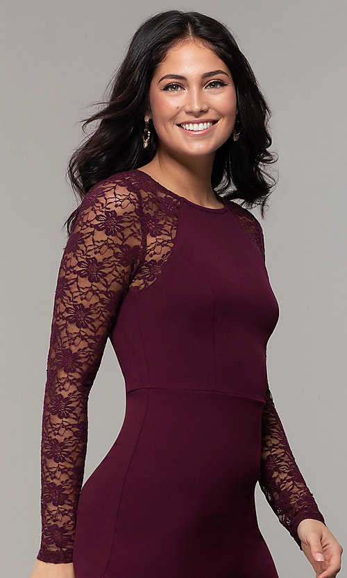 Image of short tight sheath party dress with long sleeves. Style: EM-FQY-3405-521 Detail Image 1