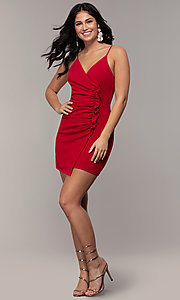 Image of short ruched faux-wrap red party dress. Style: EM-HER-3405-600 Detail Image 3