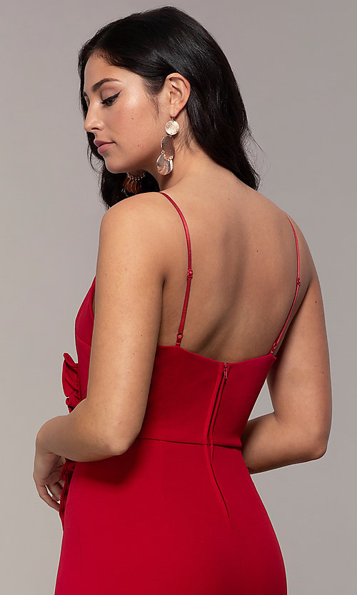 Image of short ruched faux-wrap red party dress. Style: EM-HER-3405-600 Detail Image 2