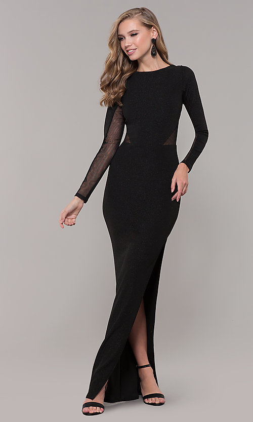 4aa116645ec Glitter Long Black Prom Dress With Sleeves
