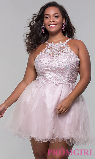 High-Neck Short Plus-Size Homecoming Dress