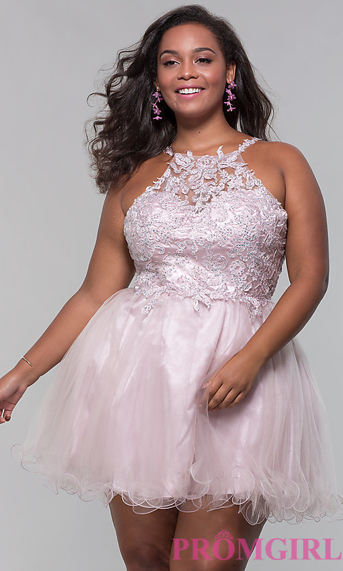 Image of high-neck short plus-size homecoming dress. Style: DQ-3004P Front Image