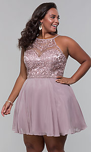 Image of high-neck plus-size homecoming dress by PromGirl. Style: DQ-PL-3008P Front Image