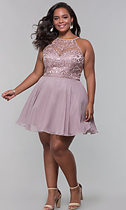 Image of high-neck plus-size homecoming dress by PromGirl. Style: DQ-PL-3008P Detail Image 3
