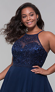 Image of high-neck plus-size homecoming dress by PromGirl. Style: DQ-PL-3008P Detail Image 6