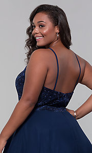 Image of high-neck plus-size homecoming dress by PromGirl. Style: DQ-PL-3008P Detail Image 7