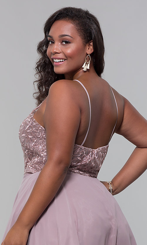 Image of high-neck plus-size homecoming dress by PromGirl. Style: DQ-PL-3008P Detail Image 2