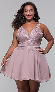 Image of plus-size short homecoming dress by PromGirl. Style: DQ-PL-3011P Front Image