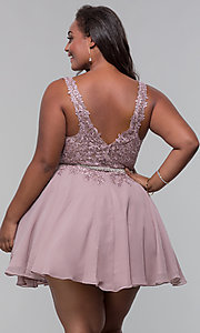 Image of plus-size short homecoming dress by PromGirl. Style: DQ-PL-3011P Back Image