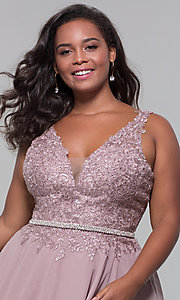 Image of plus-size short homecoming dress by PromGirl. Style: DQ-PL-3011P Detail Image 1
