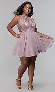Image of plus embroidered-bodice homecoming dress by PromGirl. Style: DQ-PL-3012P Detail Image 5