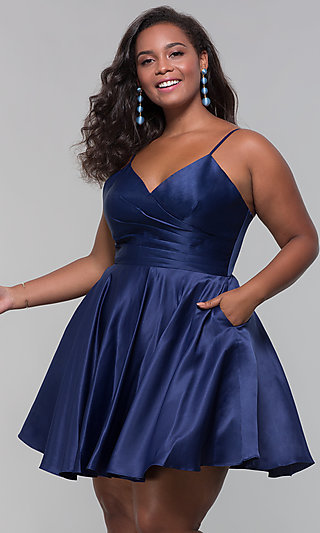 Short V-Neck Plus-Size Homecoming Dress by PromGirl