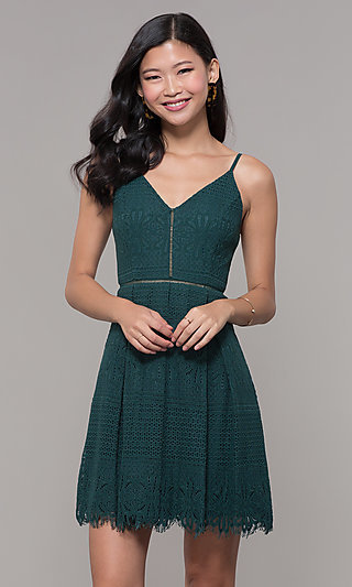 Short Lace Holiday Party V-Neck Dress