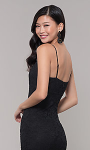 Image of sleeveless little black lace party dress. Style: SOP-D17733LCS Detail Image 2