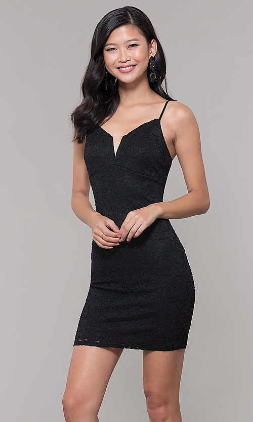 Image of sleeveless little black lace party dress. Style: SOP-D17733LCS Front Image