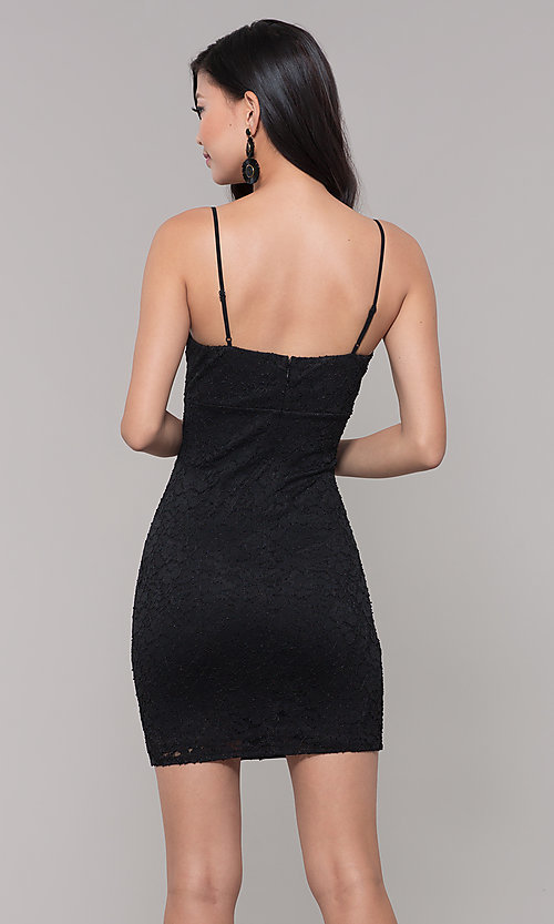 Image of sleeveless little black lace party dress. Style: SOP-D17733LCS Back Image