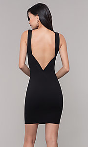 Image of little black sleeveless party dress with v-back. Style: SOP-D17742VPT Back Image