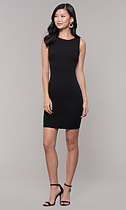 Image of little black sleeveless party dress with v-back. Style: SOP-D17742VPT Detail Image 3