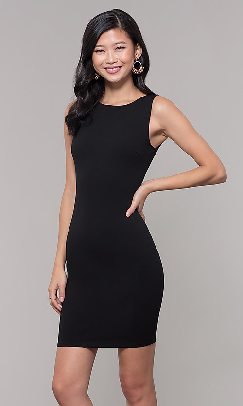 Image of little black sleeveless party dress with v-back. Style: SOP-D17742VPT Front Image