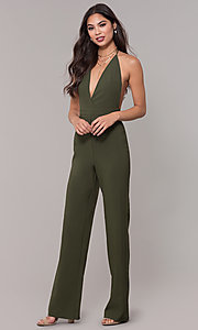 Image of halter-top v-neck jumpsuit for holiday parties. Style: LUX-LJP4883 Detail Image 3