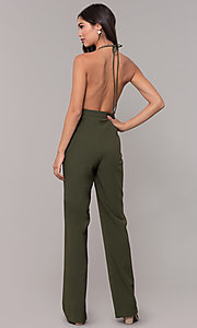 Image of halter-top v-neck jumpsuit for holiday parties. Style: LUX-LJP4883 Back Image