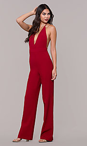 Image of halter-top v-neck jumpsuit for holiday parties. Style: LUX-LJP4883 Front Image