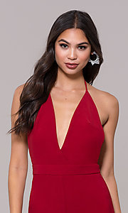 Image of halter-top v-neck jumpsuit for holiday parties. Style: LUX-LJP4883 Detail Image 1
