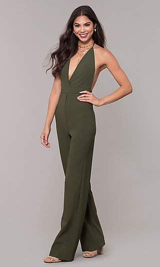 Halter-Top V-Neck Jumpsuit for Holiday Parties