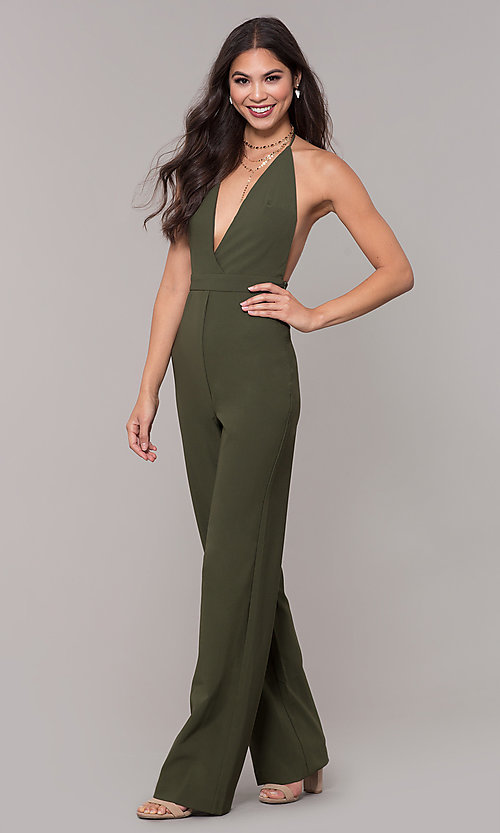Image of halter-top v-neck jumpsuit for holiday parties. Style: LUX-LJP4883 Detail Image 4