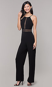 Image of black holiday party jumpsuit with adjustable straps. Style: CT-8415TP3BT3 Detail Image 3