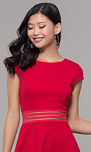 Image of red cap-sleeve short holiday party dress. Style: CT-1901JD4BT1 Detail Image 1