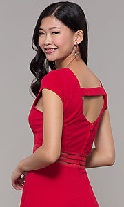 Image of red cap-sleeve short holiday party dress. Style: CT-1901JD4BT1 Detail Image 2