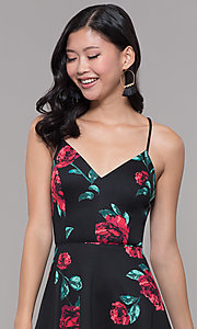 Image of short black and red print v-neck wedding guest dress. Style: CT-7202TW1ET1 Detail Image 1