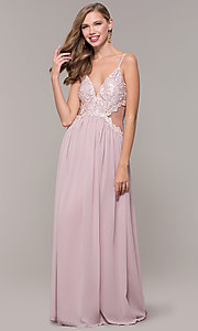 Image of long chiffon lace-bodice prom dress by PromGirl. Style: SOI-PL-M18620 Front Image