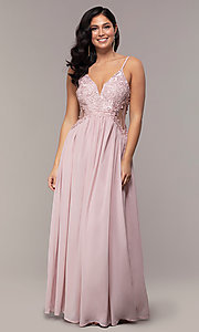 Image of long chiffon lace-bodice prom dress by PromGirl. Style: SOI-PL-M18620 Detail Image 3
