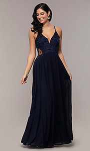 Image of long chiffon lace-bodice prom dress by PromGirl. Style: SOI-PL-M18620 Detail Image 4