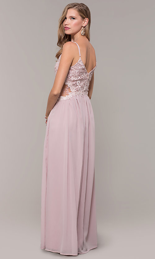 Image of long chiffon lace-bodice prom dress by PromGirl. Style: SOI-PL-M18620 Back Image