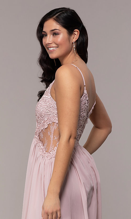 Image of long chiffon lace-bodice prom dress by PromGirl. Style: SOI-PL-M18620 Detail Image 2
