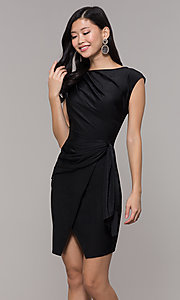 Image of ruched high-neck little black holiday party dress. Style: SY-ID5980AP Front Image