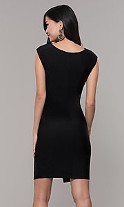 Image of ruched high-neck little black holiday party dress. Style: SY-ID5980AP Back Image