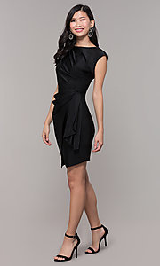 Image of ruched high-neck little black holiday party dress. Style: SY-ID5980AP Detail Image 3