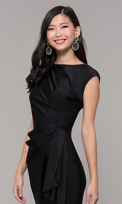 Image of ruched high-neck little black holiday party dress. Style: SY-ID5980AP Detail Image 1