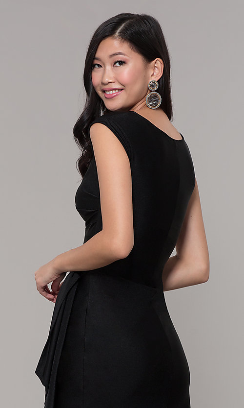 Image of ruched high-neck little black holiday party dress. Style: SY-ID5980AP Detail Image 2
