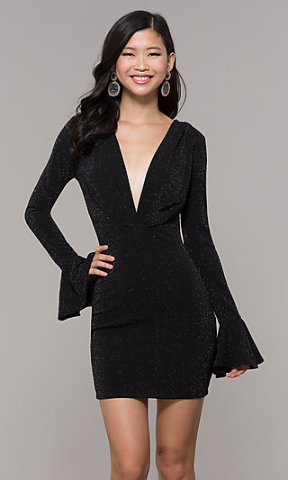 Short Low-V-Neck Glitter Black Holiday Dress