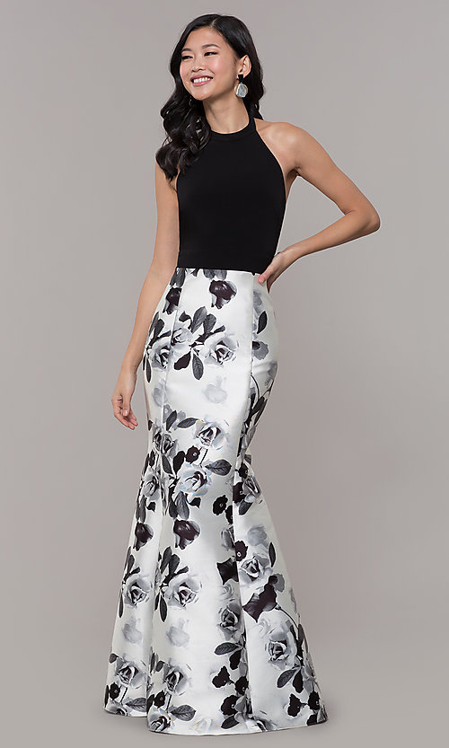 741d7c6854b8 Image of black and white high-neck floral-print prom dress. Style: